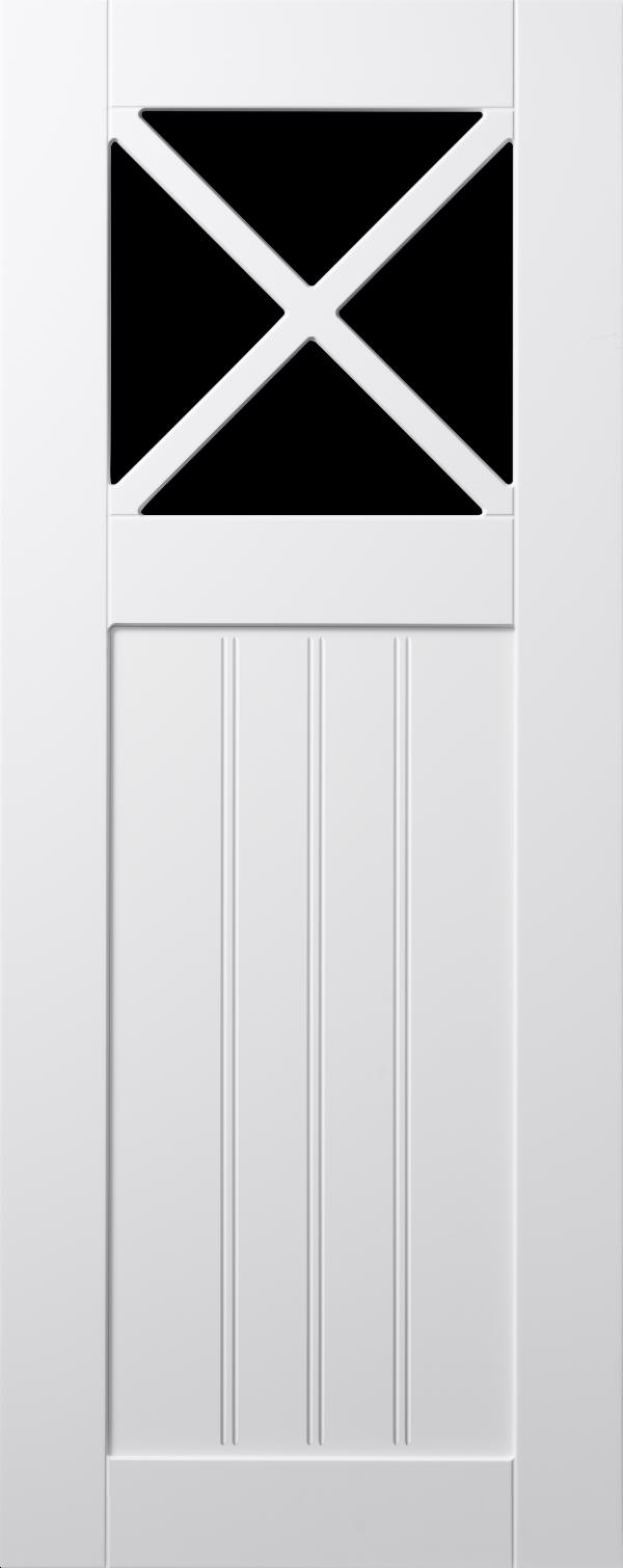 Koster lucka, vit, vitrin med krysspröjs och pärlspont, Nordanro Flex