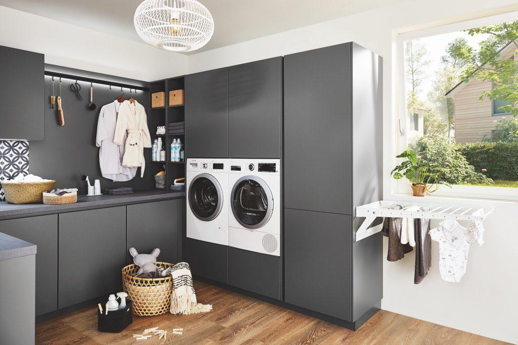 Tvättstuga med integrerade vitvaror